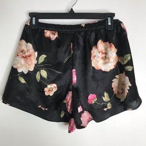 Gilligan & O'Malley Black Floral Pajama Shorts XXL